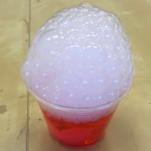 Bubbles produced by adding foaming soap to a base of dry ice and water.