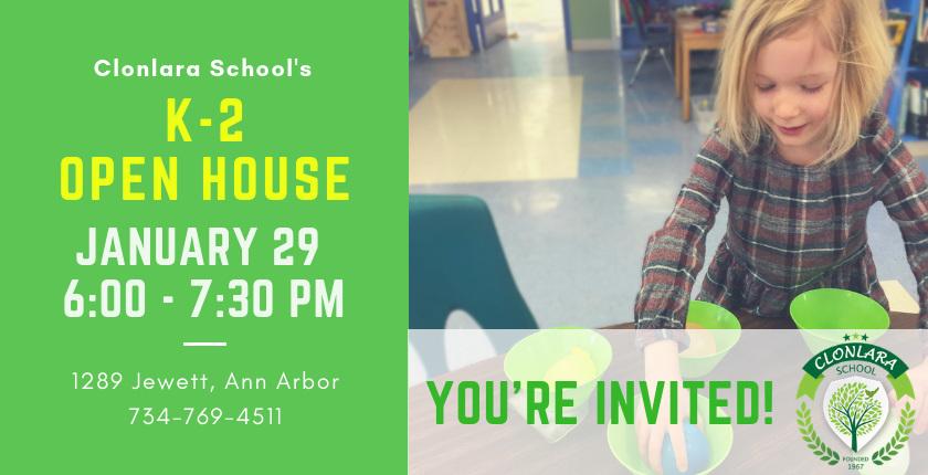 Clonlara School K-2 Open House - Jan. 29, 2019