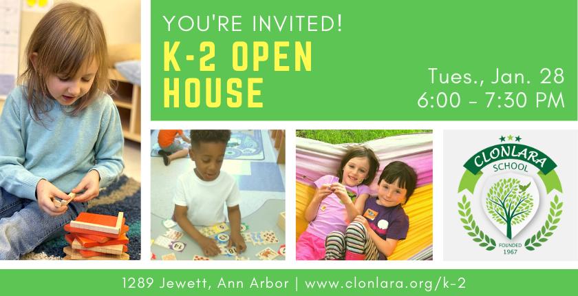 Clonlara School K-2 Open House - Jan. 28, 2020