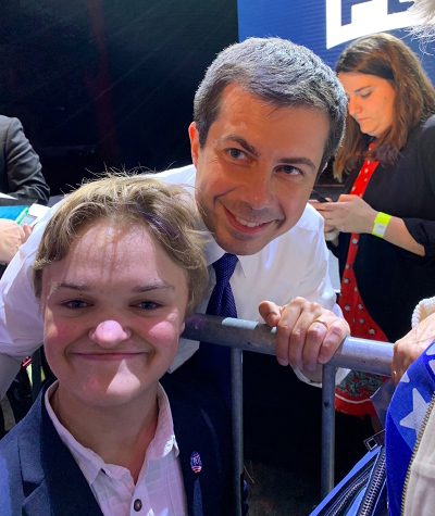 Clonlara Student - Devan Vane on the campaign trail with Mayor Pete